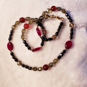 """Premier Designs """"Margo"""" red and grey necklace"""